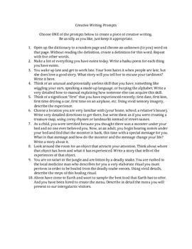 More Creative Writing Prompts