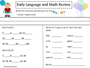 More Daily Math and Language Review