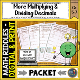 Decimals Math with Riddles More Multiplying and Dividing Decimals
