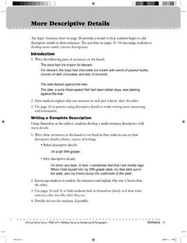 More Descriptive Details (Sentences)