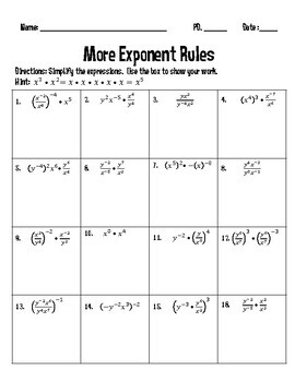 More Exponent Rules Worksheet and Puzzle {Fall Theme}