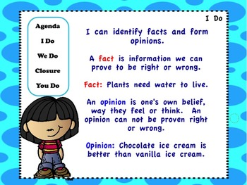 More Fact and Opinion: Flipchart, Worksheets, and Anchor Charts