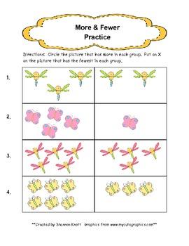More & Fewer Kindergarten Practice