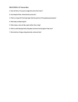 More From Utopia Comprehensive Questions and Answers