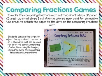 Equivalent and Comparing Fractions Centers and Materials