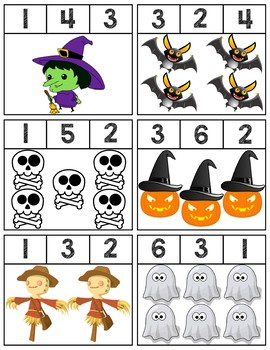 More Halloween Clip Cards | Numbers 1-6