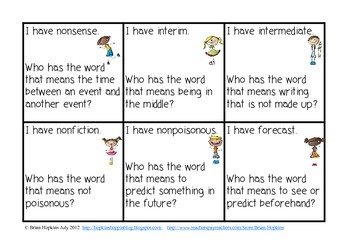 More I Have Who Has Prefixes - Vocabulary Game