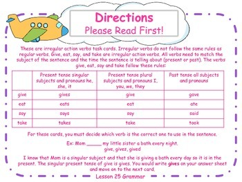 More Irregular Action Verbs Task Cards for Journeys Grade 2