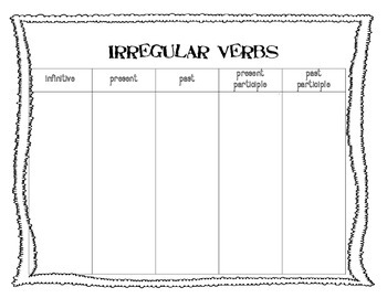 More Irregular Verbs Worksheet