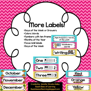 More Labels! Chevron Teal, Pink, & Yellow
