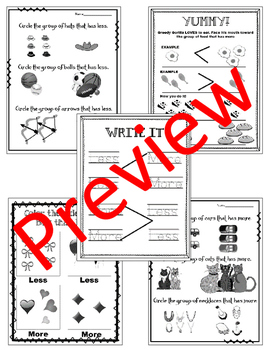 More & Less. Greater Than & Less Than. Worksheets. Review. Math Centers