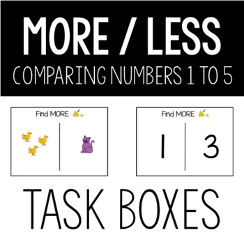 More Less Level 1 Task Box Comparing Numbers 1-5