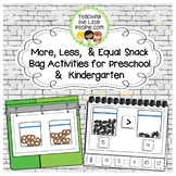 More, Less and Equal Snack Bag Activities for Preschool and Kindergarten