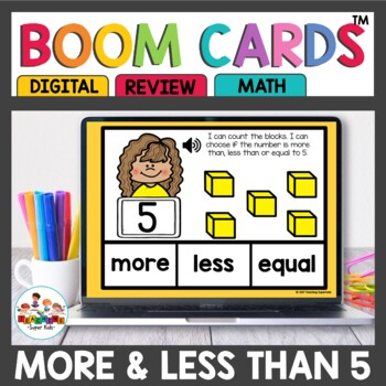 More, Less or Equal to 5 Digital Task Cards Boom