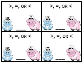 """More or Less """"Pigs"""" (Task Cards)"""