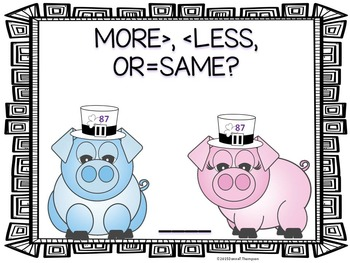 More or Less: First Grade Task Cards (Boy and Girl Pigs)