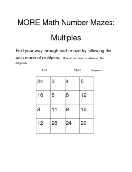 More Math Number Mazes
