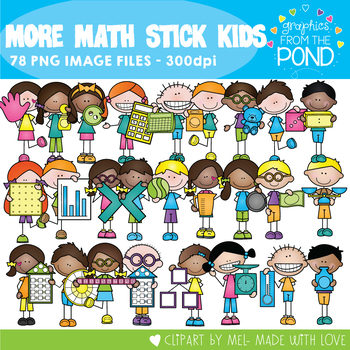 More Math Stick Kids Clipart Set