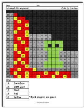 More Minecraft Color By Number By Coloring Squared Tpt