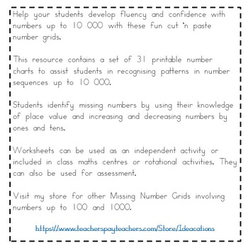 More Missing Number Grids! - Numbers up to 10 000