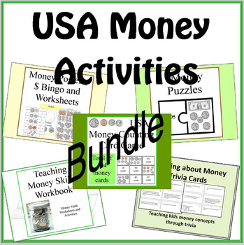 USA Money Math Workbook, Games and Activities BUNDLE