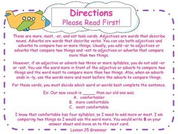 More, Most, Er, and Est Task Cards for Journeys 3rd Grade