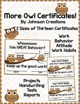 More Owl Certificates!