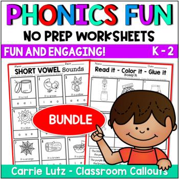 BUNDLED ~ Phonics Worksheets~  No Prep Printables