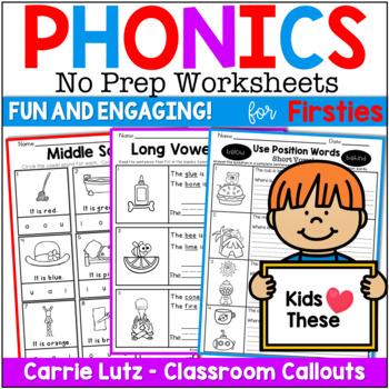 Phonics Worksheets Bundle No Prep Printables