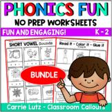 Phonics Worksheets Bundle No Prep Printables Distance Learning