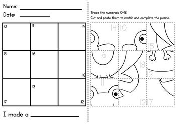 Number Worksheets - Cut and Paste Puzzles by From the Pond | TpT
