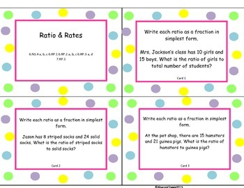 More Ratio & Rates Task Cards