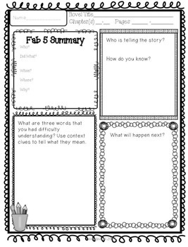 More Reading Response Sheets for Any Novel