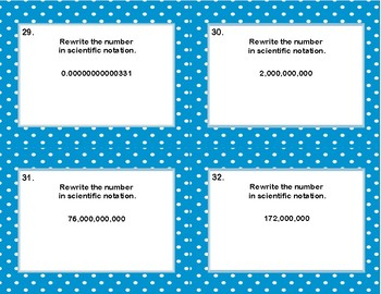 More Rewriting Numbers From Decimals to Scientific Notation Task Cards