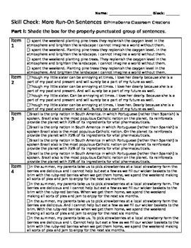 More Run-On Sentences Skill Check