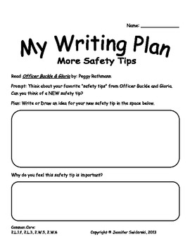 More Safety Tips (A Writing Project to use with Officer Buckle & Gloria)