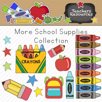 More School Supplies Clipart Collection || Commercial Use Allowed