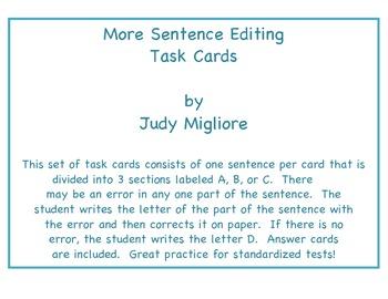More Sentence Editing Task Cards