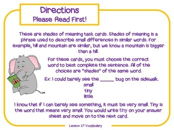 More Shades of Meaning Task Cards for Journeys Grade 2
