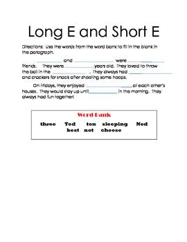 More Short E and Long E Practice