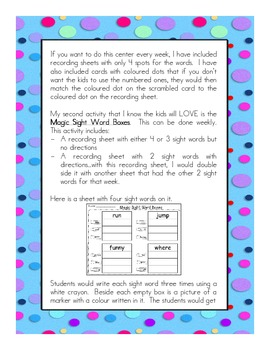 More Sight Word Activities Pre-Primer Dolch List