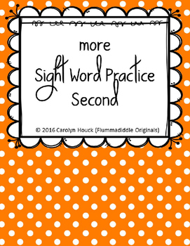 """More Sight Word Practice Dolch Second 1/2"""" Lines"""