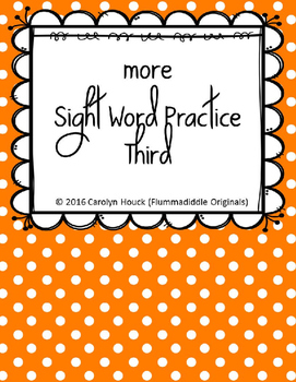"""More Sight Word Practice Dolch Third 1/2"""" Lines"""