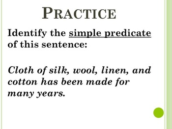 More Simple Subjects and Simple Predicates PP to accompany HM English 7