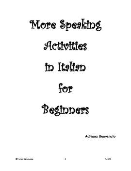 More Speaking Activities for Italian -Level 1