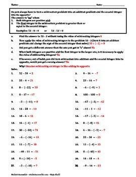 More Subtracting Integers Worksheet