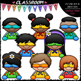 More Superhero Topper Kids - Clip Art & B&W Set