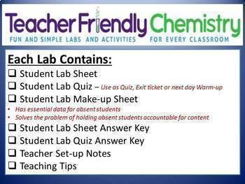 Growing Chemistry Lab Bundle: 29 Labs 27 Inquiry PDF Ans. Keys, Lab Quiz