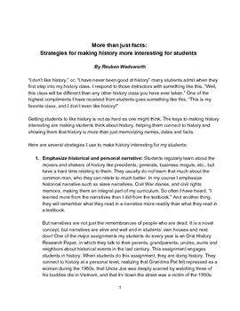 More Than Just Facts: Strategies for Making History Interesting for Students
