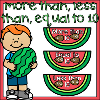 More Than Less Than Equal to 10 Equation Sort Math Center Summer Theme